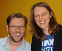 Damian Barr with Rosie in the Resonance studio