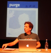 Brian Lobel presenting 'Purge' photo by Aaron Reeves
