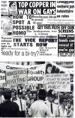 Collage of press cuttings and photo from the Lesbian and Gay Newsmedia Archive Images: LAGNA